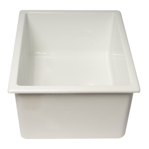 "Image of Alfi Brand AB2418UD 24"" White Single Bowl Fireclay Undermount Sink-Annie & Oak"