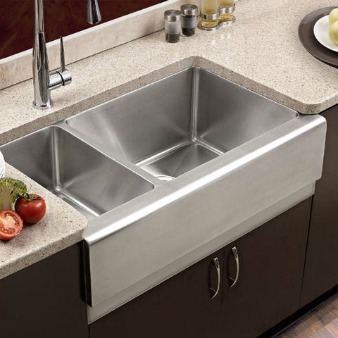 "Image of Houzer Epicure EPO-3370SL 32"" Stainless Steel Double Bowl Farmhouse Sink-Annie & Oak"