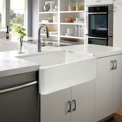 "Image of Houzer Platus PTG-4300-WH 33"" White Single Bowl Fireclay Farmhouse Sink - Annie & Oak"