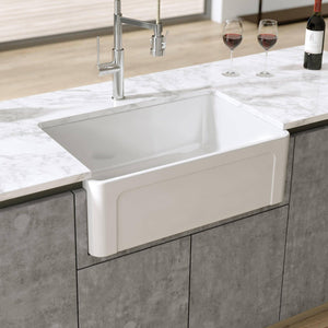 Latoscana 30 White Reversible Casement Design Fireclay Farmhouse Sink LTW3019W