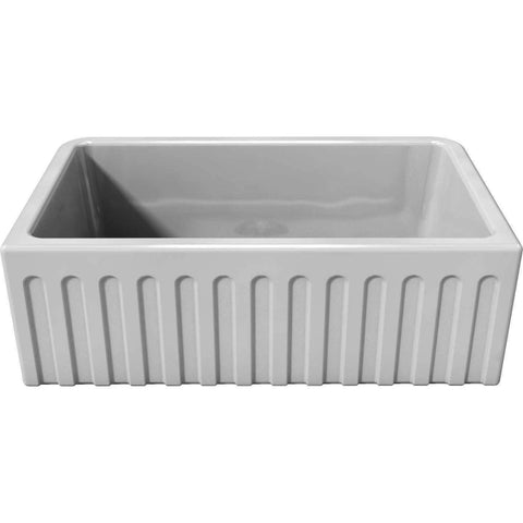 "30"" Fireclay Farmhouse Sink Reversible Smooth or Fluted in White - LFS3018W-Annie & Oak"