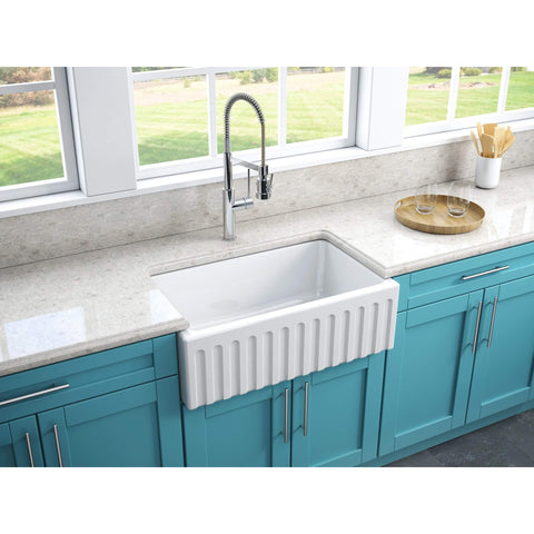 "Latoscana 30"" White Reversible Smooth or Fluted Fireclay Farmhouse Sink - LFS3018W-Annie & Oak"