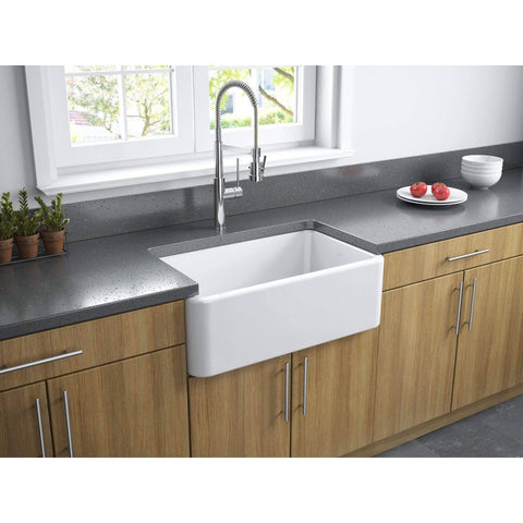 "Latoscana 30"" White Reversible Smooth or Fluted Fireclay Farmhouse Sink-Annie & Oak"