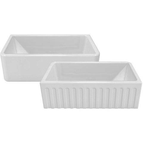"Front View Fluted Sink 30"" Fireclay Farmhouse Sink Reversible Smooth or Fluted in White - LFS3018W-Annie & Oak"