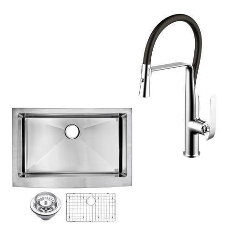 "30"" X 22"" Front Apron w/ Single Faucet Stainless Sink - Water Creation-Annie & Oak"