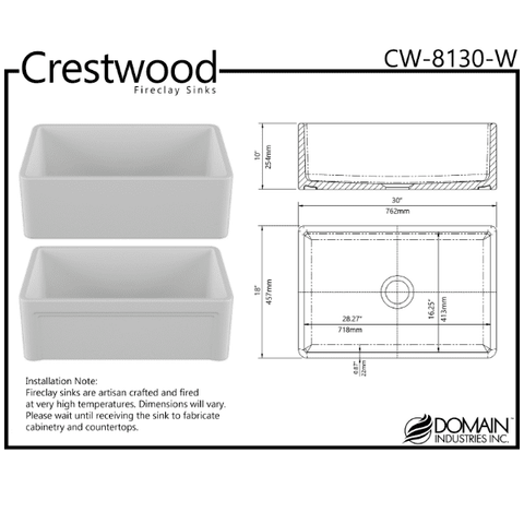 Image of 30 Fireclay Farmhouse Sink White Reversible Casement Design Crestwood-Annie & Oak