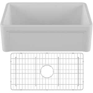 30 Fireclay Farmhouse Sink White Reversible Casement Design Crestwood