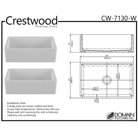 30 Fireclay Farmhouse Sink White Reversible Single Fluted - Crestwood-Annie & Oak