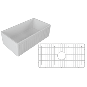 30 Fireclay Farmhouse Sink White Reversible Single Fluted - Crestwood