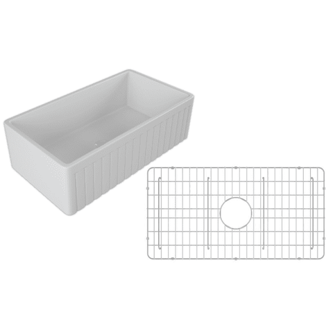 Image of 30 Fireclay Farmhouse Sink White Reversible Single Fluted - Crestwood-Annie & Oak