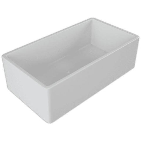Image of 30 Fireclay Farmhouse Sink White Reversible Single Fluted - Crestwood - Annie & Oak