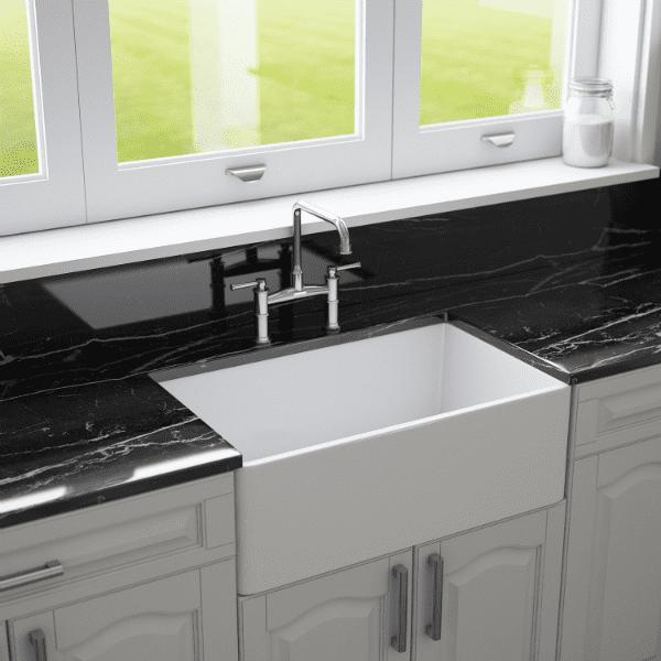 30 Fireclay Farmhouse Sink White Reversible Single Fluted - Crestwood - Annie & Oak