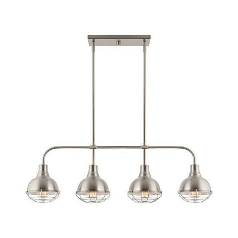 "Kira Home Liberty 36"" Brushed Nickel Modern Industrial Farmhouse Kitchen Island Light"