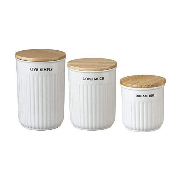 "Primitives by Kathy 17"" White Modern Farmhouse Nesting Kitchen Canister Jars - Set of 3"