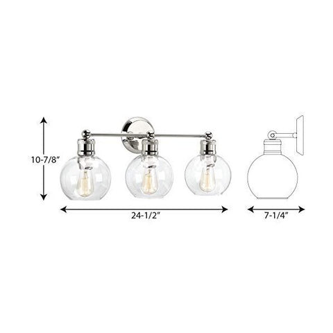 "Progress Lighting P300051-104 Hansford 24"" Polished Nickel Bath & Vanity Light"