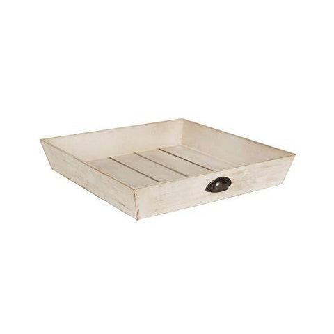 "Kate and Laurel Woodmont 20"" Antique White Distressed Wood Square Ottoman Tray"