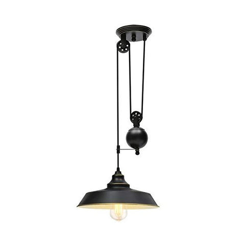 "KingSo 12 "" Oil Rubbed Bronze Rustic Pulley Pendant Light"