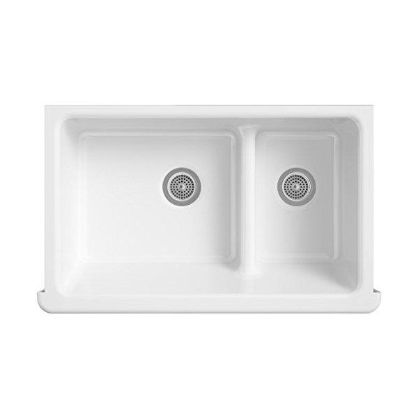 "KOHLER Whitehaven K-6427-0 35"" White Double-Bowl Undermount Kitchen Sink with Tall Apron"