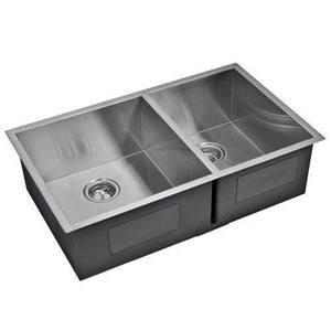 "Water Creation SSSG-UD-3320A-16 33"" Stainless Steel Double Bowl Undermount Kitchen Sink - Annie & Oak"