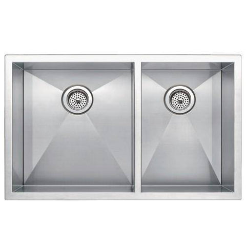 "Image of Water Creation SSSG-UD-3320A-16 33"" Stainless Steel Double Bowl Undermount Kitchen Sink - Annie & Oak"