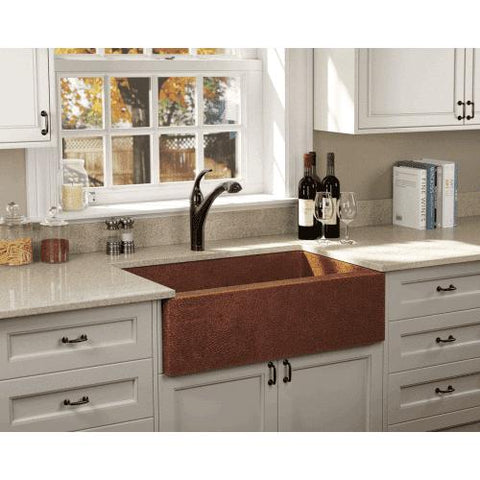 "33"" x 20"" Single Bowl Copper Farmhouse Apron Kitchen Sink - Annie & Oak"