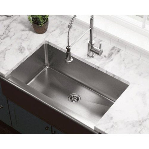 "33"" x 20"" Single Bowl Stainless Steel Farmhouse Apron Kitchen Sink - Annie & Oak"