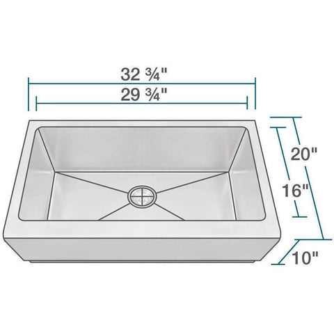 "33"" x 20"" Single Bowl Stainless Steel Farmhouse Apron Kitchen Sink-Annie & Oak"