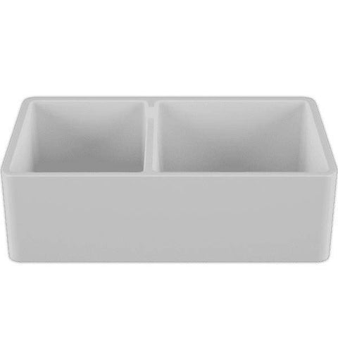33 Fireclay Farmhouse Sink White Double Bowl Reversible - Crestwood-Annie & Oak