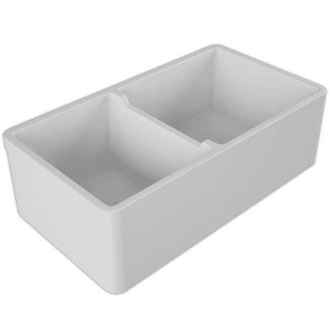 Image of 33 Fireclay Farmhouse Sink White Double Bowl Reversible - Crestwood-Annie & Oak