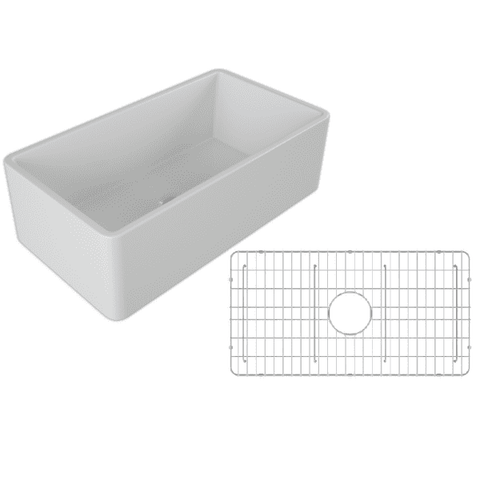 Image of 33 Fireclay Farmhouse Sink White Reversible Single Bowl - Crestwood-Annie & Oak