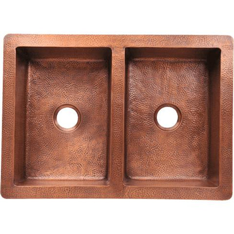 "35"" x 25"" Equal Double Bowl Copper Farmhouse Apron Kitchen Sink - Annie & Oak"