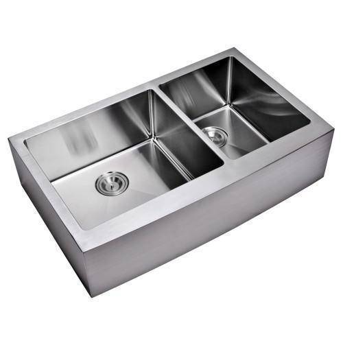 "36"" X 22"" Front Apron Double Bowl Stainless Steel Sink - Water Creation-Annie & Oak"