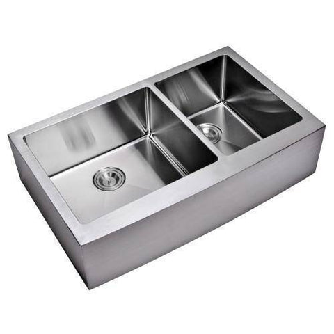 "Image of 36"" X 22"" Front Apron Double Bowl Stainless Steel Sink - Water Creation-Annie & Oak"