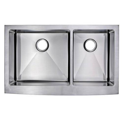 "Water Creation SSSG-AD-3622B-16 36"" Stainless Steel Double Bowl Farmhouse Sink - Annie & Oak"