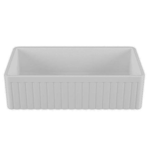 36 Fireclay Farmhouse Sink White Reversible Fluted Single - Crestwood-Annie & Oak