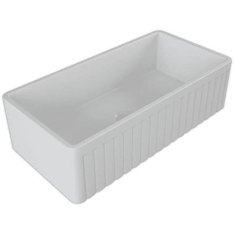 Image of 36 Fireclay Farmhouse Sink White Reversible Fluted Single - Crestwood-Annie & Oak