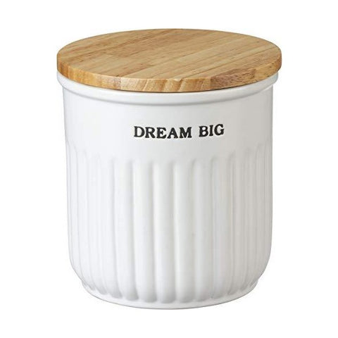"Image of Primitives by Kathy 17"" White Modern Farmhouse Nesting Kitchen Canister Jars - Set of 3"