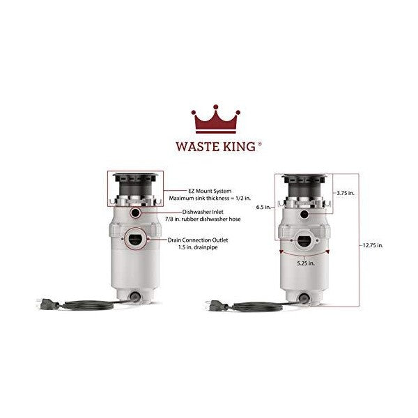 "Waste King L-1001 12"" Stainless Steel 1/2 HP Continuous Feed Garbage Disposal"
