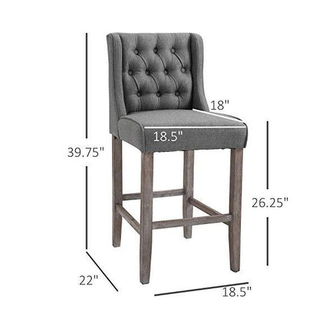 "Image of HOMCOM 40"" Gray Tufted Wingback Armless Counter Height Barstools - Set of 2"