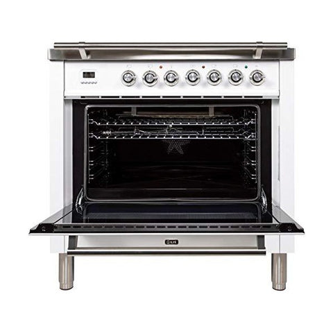 "Ilve UPW90FDVGGB 36"" White Freestanding Natural Gas Range w/ 3.5 cu. ft. Oven Capacity"