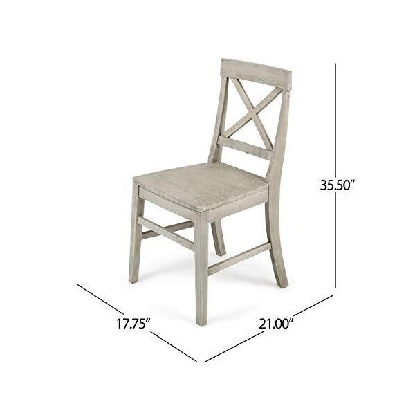 "Great Deal Furniture Truda 21"" Light Grey Acacia Wood Farmhouse Dining Chairs"