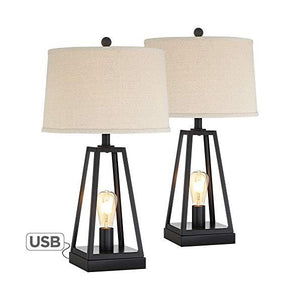 "Franklin Kacey 25"" Black Industrial Farmhouse Table Lamps Set of 2"