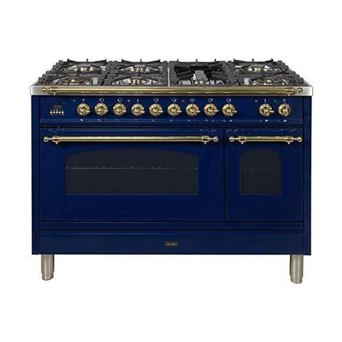 "Ilve Nostalgie 48"" Blue Dual Fuel Liquid Propane Gas Cooking Range w/ 7 Sealed Burners"