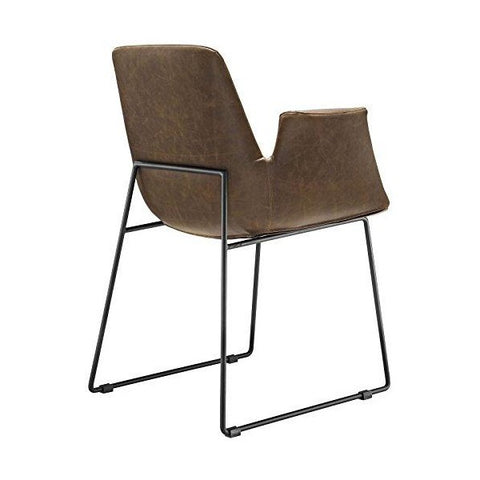 "Image of Modway Aloft EEI-1806-BRN 23"" Brown Faux Leather Modern Farmhouse Dining Chair"