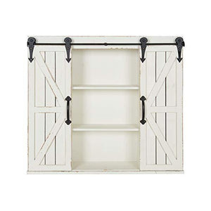 "Kate and Laurel Cates 29"" White Wood Wall Storage Cabinet with Two Sliding Barn Doors"