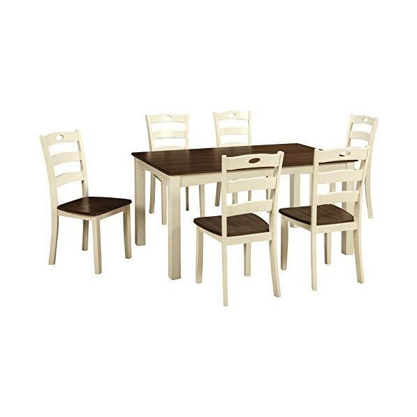 "Signature Design by Ashley 36"" Cream/Brown Woodanville Dining Room Table and Chairs-Set of 7"