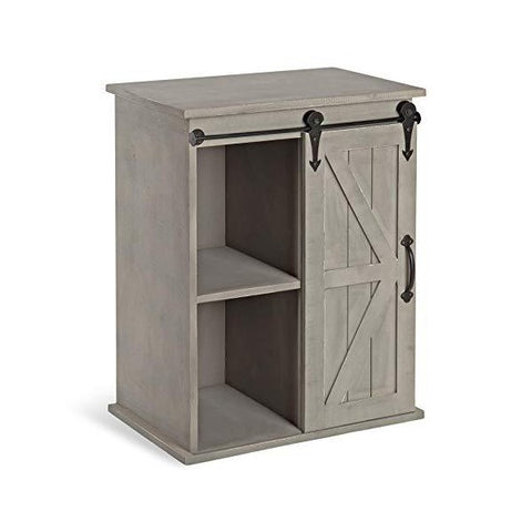 "Image of Kate and Laurel Cates 14"" Gray Wooden Freestanding Storage Cabinet w/ Sliding Barn Door"
