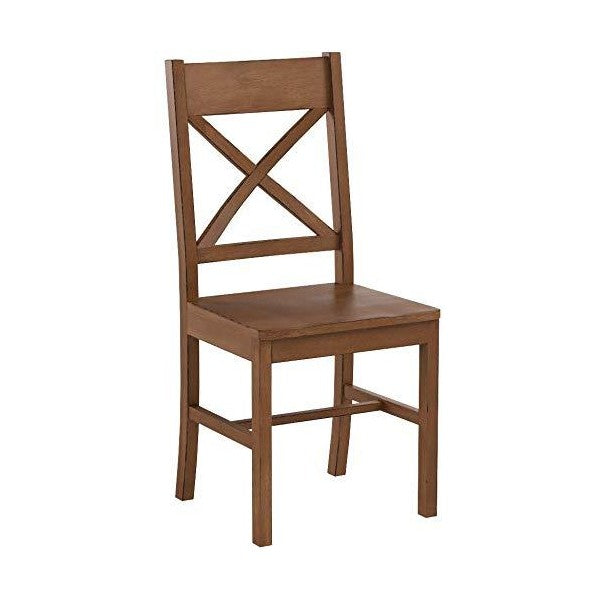 "Walker Edison 18"" Antique Brown Solid Wood Farmhouse Dining Chairs -Set of 2"