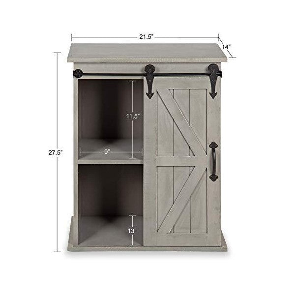 "Kate and Laurel Cates 14"" Gray Wooden Freestanding Storage Cabinet w/ Sliding Barn Door"