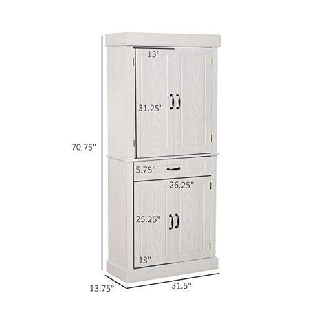 "HOMCOM 71"" Ivory Freestanding Kitchen Pantry with 4 Doors"